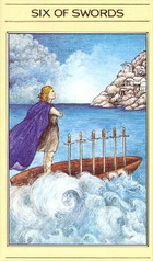 קלף טארוט שש חרבות בסדרת הקלפים של ליז גרין