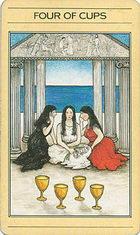הקלף ארבעה גביעים בחפיסת הקלפים של ליז גרין