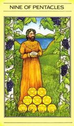 קלף טארוט 9 מטבעות בחפיסת הקלפים של ליז גרין