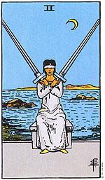 הקלף שתי חרבות  מראה שאנו מעדיפים לא להתמודד