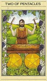 דמותו של דיאדלוס המצויירת בקלף שני מטבעות. מתוך חפיסת הקלפים של ליז גרין