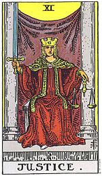קלף הצדק מייצג את חוק הקארמה