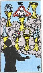 למרות שהקלף שבעה גביעים עוסק בחלום שצריך להגשים וביכולת שיש לנו להגשים את החלום, הטבע שהקלף מייצג הוא לפנטז, להישאר באזור הנוחות ולא להתאמץ מספיק. למעשה מה שהקלף מראה הוא שנוכל להגשים את החלום רק כאשר נתגבר על הטבע שלנו.