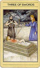 קלף טארוט שלוש חרבות בסדרת הקלפים של ליז גרין