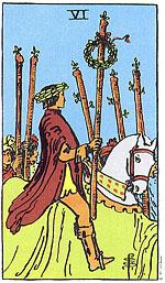 """הקלף שישה מטות מראה שהשואל """"על הסוס"""""""